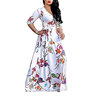 SheKiss Women's Sexy V Neck Floral Printed Long Sleeve Casual Floor Length Flowy Evening Party Maxi Dress White Outfits with Belt