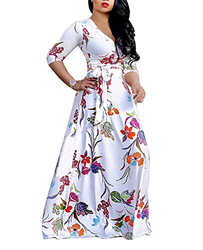 LightlyKiss Women's Casual Sexy V-Neck Floral Long Sleevess Loose Maxi Party Prom Dress Floor Length Outfits with Belt