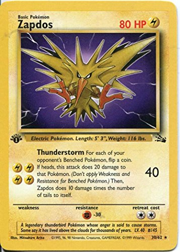 Pokemon Fossil 1st Edition Rare Card #30 Zapdos for sale  Delivered anywhere in USA