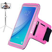 Pink Gym Sports Armband for Alcatel Streak / Dawn / Pixi 3 (4.5) / One Touch Elevate / POP Astro / Fire E / S / Idol 2 mini S / 3 + Bluetooth Tripod Selfie Stick