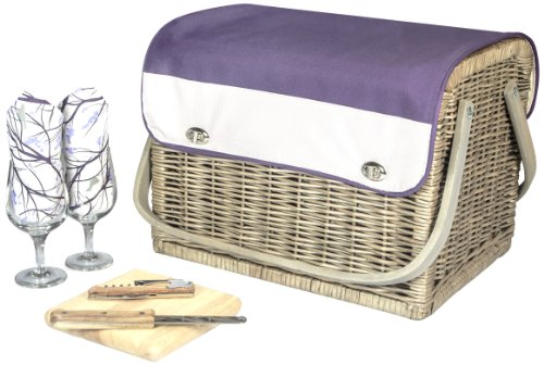 Picnic Basket Wine Glass (Picnic Time 'Kabrio' Picnic Basket with Wine and Cheese Service for Two, Aviano)