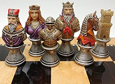 Medieval Times Crusades RED & Green Busts Set of Chess Men Pieces Hand Painted