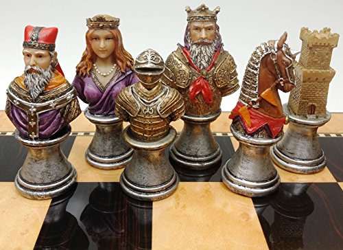 (Medieval Times Crusades RED & Green Busts Set of Chess Men Pieces Hand)