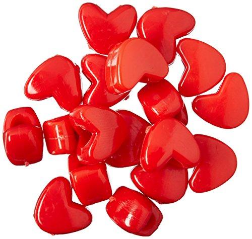 Darice 06277-1-01 Bead Pony Heart, 11 mm, Opaque Red (Bead Heart)
