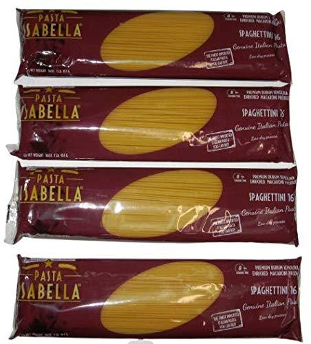 Pasta Isabella Imported Italian Spaghettini 16, Premium Durum Semolina Enriched Macaroni - Low Dry Process - 16 Oz - 1 Lb (4 Pack) (Pasta Imported)