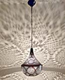 B263 Tin Mosaic Moroccan Lampshade Hanging Lamp Dark Wood Tone