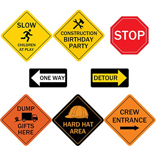 Topoox 8 Pack Traffic Sign Cutouts Construction Birthday Party Supplies for Kids, 8 Inches