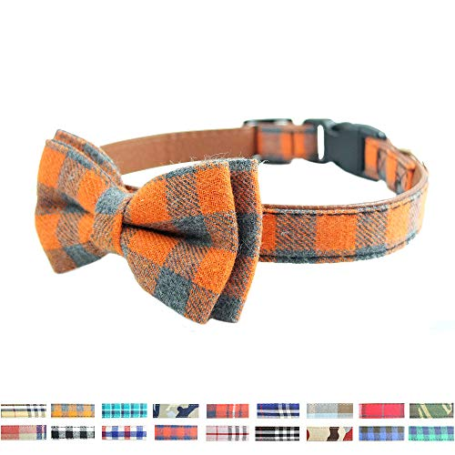 Bow Tie Dog Collar - Cute Plaid Sturdy Soft Cotton&Leather Dog Collars for Small Medium Large Dogs Breed Puppies Adjustable 18 Colors and 3 Sizes (Orange Plaid, S - Collar Dog Orange