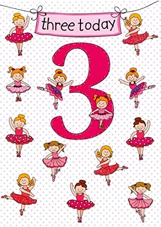8e20f2c9c THREE TODAY 3. Beautiful Birthday Card For a 3 Three Year Old Girl ...
