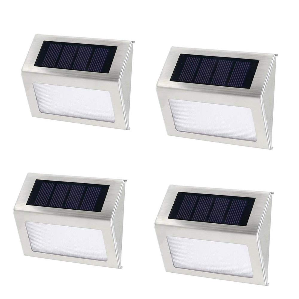 Mulslect Solar LED Stair Lights Walkway Lights Outdoor LED Deck Lighting 3 LEDs Stainless Steel for Paths Patio (White Light - 4PCS)