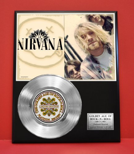 Nirvana Limited Edition Platinum Record Display - Music Memorabilia Wallart - from Gold Record Outlet