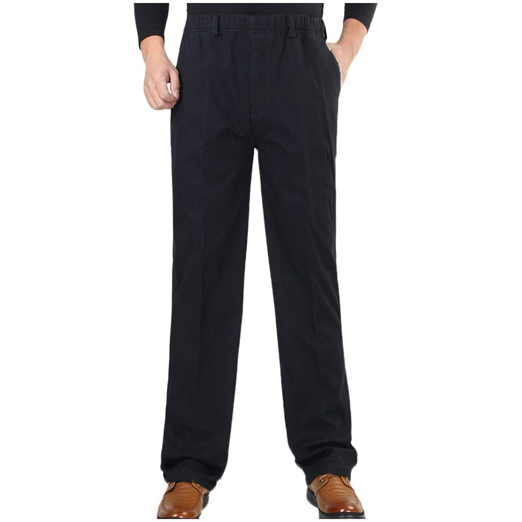 Dowager Men's Straight Pants, Winter Warm Cotton Blend Casual Solid Trousers, Business Loose Long Suit Pants with Elastic Waistband for Home Workout Buisness by Dowager