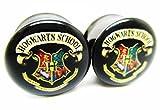 zero ear plugs - Harry Potter Hogwarts Logo Ear Plugs - Stainless Steel Double Flared Ear Plug- 6 Sizes - Brand NewPair (0 Gauge (8mm))
