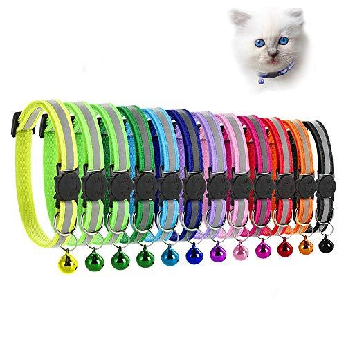 MAIYADUO Katzenhalsband,Katzenhalsbänder mit Glocke, reflektierend, individuell einstellbar, fluoreszierend mit Schnellverschluss Sicherheitsschnalle, geeignet für die meisten Hauskatzen