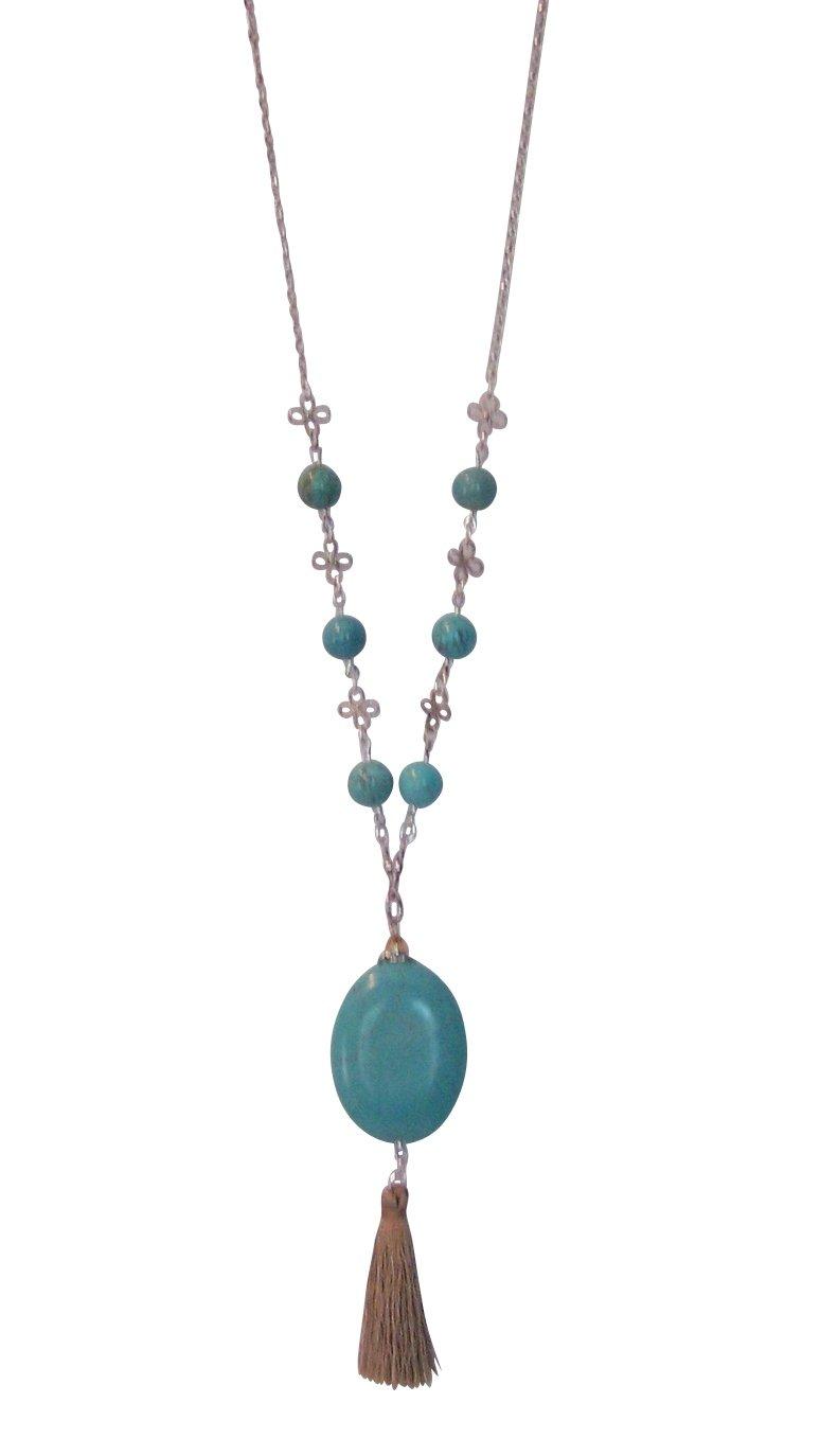 Unique Silver Tone Long Turquoise Stone Tassel Fringe Necklace for Women