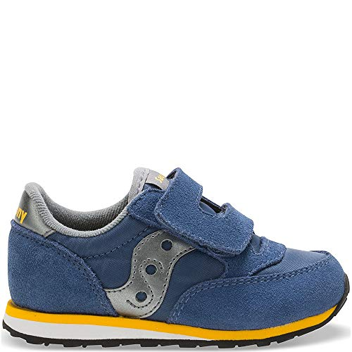Saucony Boys' Baby Jazz Hook & Loop Sneaker, Blue/Grey, 7 M US Toddler