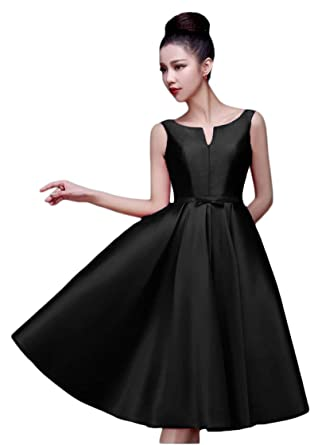 6b7313e867d2 ANGELA Women's A Line Knee Length Cocktail Dresses Short Prom Evening Party  Gowns Black2