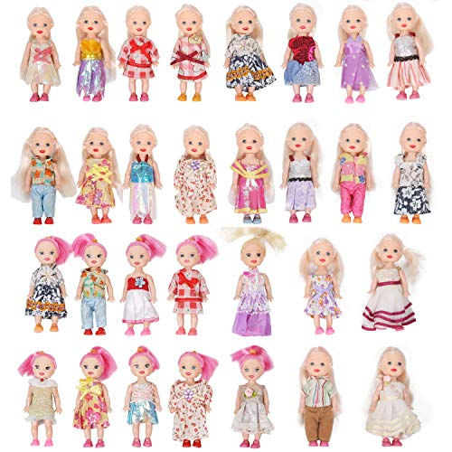 - Huang Cheng Toys Pack of 10 4'' Mini Doll with Colorful Clothes Costume