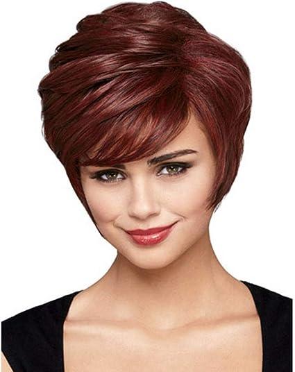 Axdwfd - Peluca de peluca para mujer, pelo corto de color ...