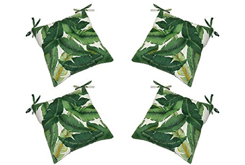 Set of 4 - Indoor/Outdoor Tommy Bahama Swaying Palms - Aloe - Green Tropical Palm Leaf Fabric Universal Tufted Seat Cushions with Ties for Dining Patio Chairs - Choose Size (17