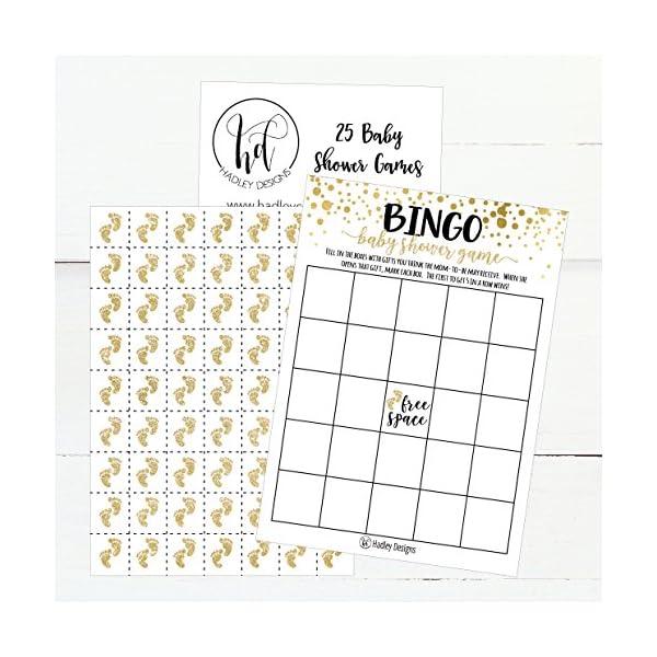 25 Gold Bingo Game Cards For Baby Shower Bulk Blank Bingo Squares