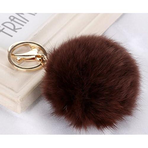 c78391635082 Cy3Lf Gold Plated Keychain Cute Genuine Rabbit Fur Ball Pom Pom Keychain  for Car Key Ring