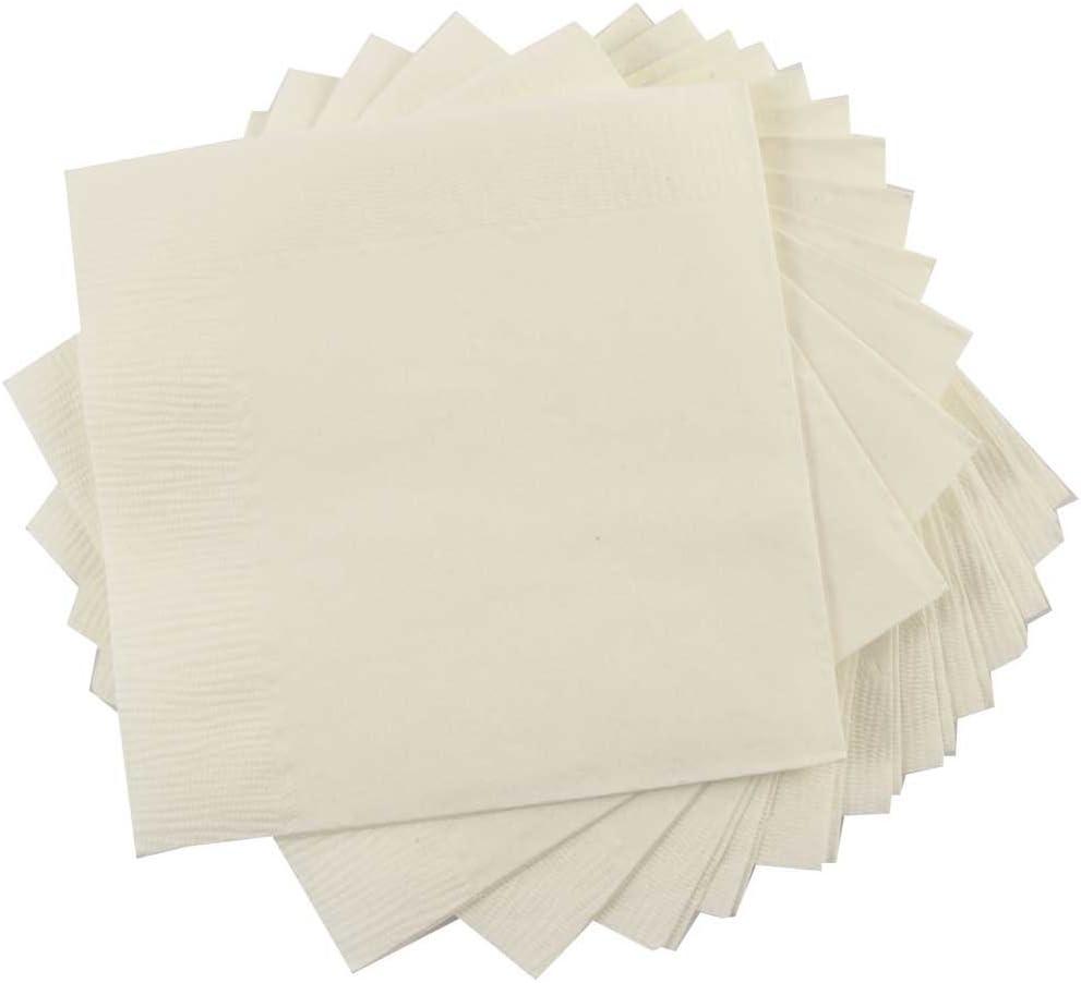 JAM PAPER Small Beverage Napkins - 5 x 5 - Ivory - 50/Pack