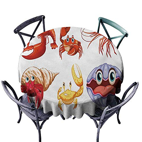 (VIVIDX Indoor/Outdoor Round Tablecloth,Crabs,Illustration of Sea Animals Like Crab Hermit Crab Lobster Shells Shrimp Print,Modern Minimalist,55 INCH,Orange Yellow)