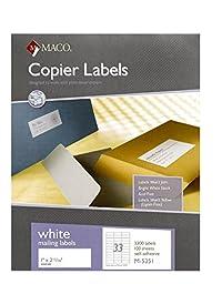 MACO White Copier Address Labels, 1 x 2-13/16 Inches, 33 Per Sheet, 3300 Per Box (M-5351)
