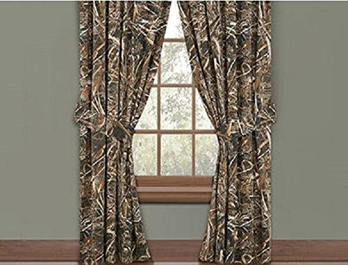 Realtree Max-5 Camo Rod Pocket Drapes, 2 Panels, 2 Tie-Backs, 84 Inch - Camouflage Nature Wildlife Hunting Window Treatment