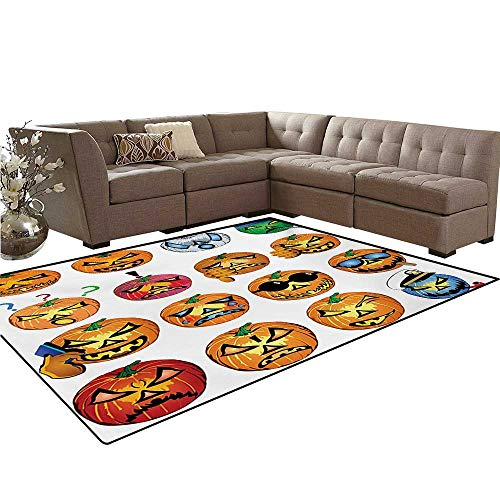 Halloween Anti-Skid Area Rugs Carved Pumpkin with Emoji Faces Halloween Inspired Humor Hipster Monsters Artwork Customize Door mats for Home Mat 6'x8' Orange ()