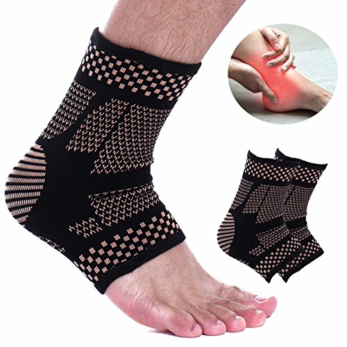 FITTOO 1 Pair Ankle Brace Compression Support Sleeve for Injury Recovery, Joint Pain Black S