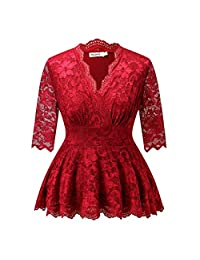 Dilanni Women V-neck 3/4 Sleeve Pelum Plus Size Linder Lace Evening Top (0X-5X)