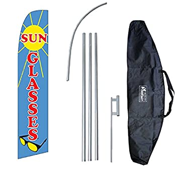 """Sunglasses"" 12-foot Swooper Feather Flag and Case Complete Set...includes 12-foot Flag, 15-foot Pole, Ground Spike, and Carrying/Storage Case"