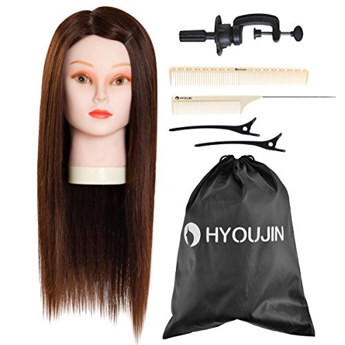 HYOUJIN 21-22' 50% Human hair Julia Mannequin head Training Head Basic Hairdresser Hair Styling Kit w/Pro-cutting comb & Pin tail comb + calipers set (included free storage bag & table clamp)