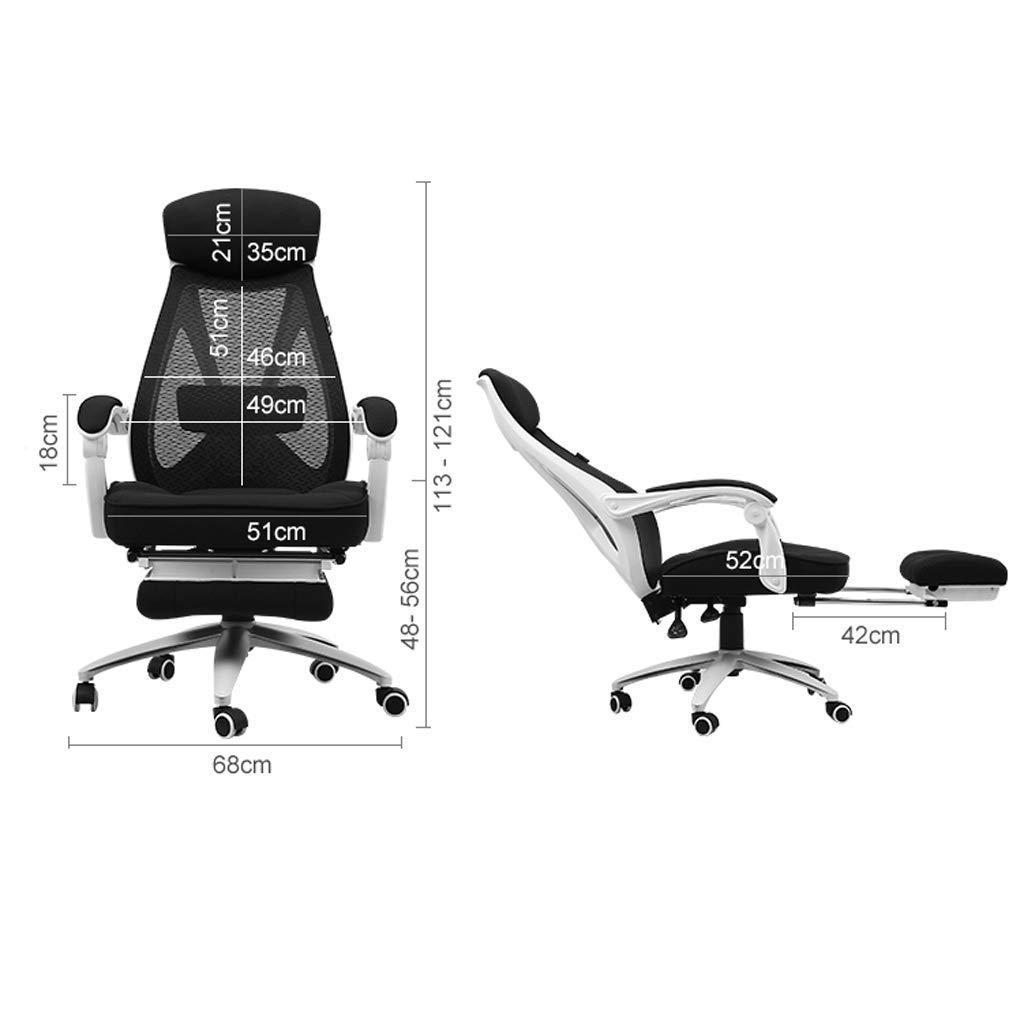 Kontorsstol, hög rygg stort säte och ergonomisk svängbar stol liggande dator skrivbordsstol andningsbar mesh R05 Svart Svart