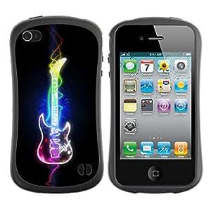 Hybrid Anti-Shock Bumper Case for Apple iPhone 4 4S / Cool Neon Art Guitar