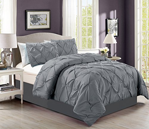 4 pieces solid grey pinch pleat goose down alternative comforter set king size bedding home for Home design down alternative color king comforter