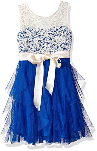 Blue Clothing Illusion - Rare Editions Girls' Big Floral Lace Illusion Party Dress, Ivory/Royal 7