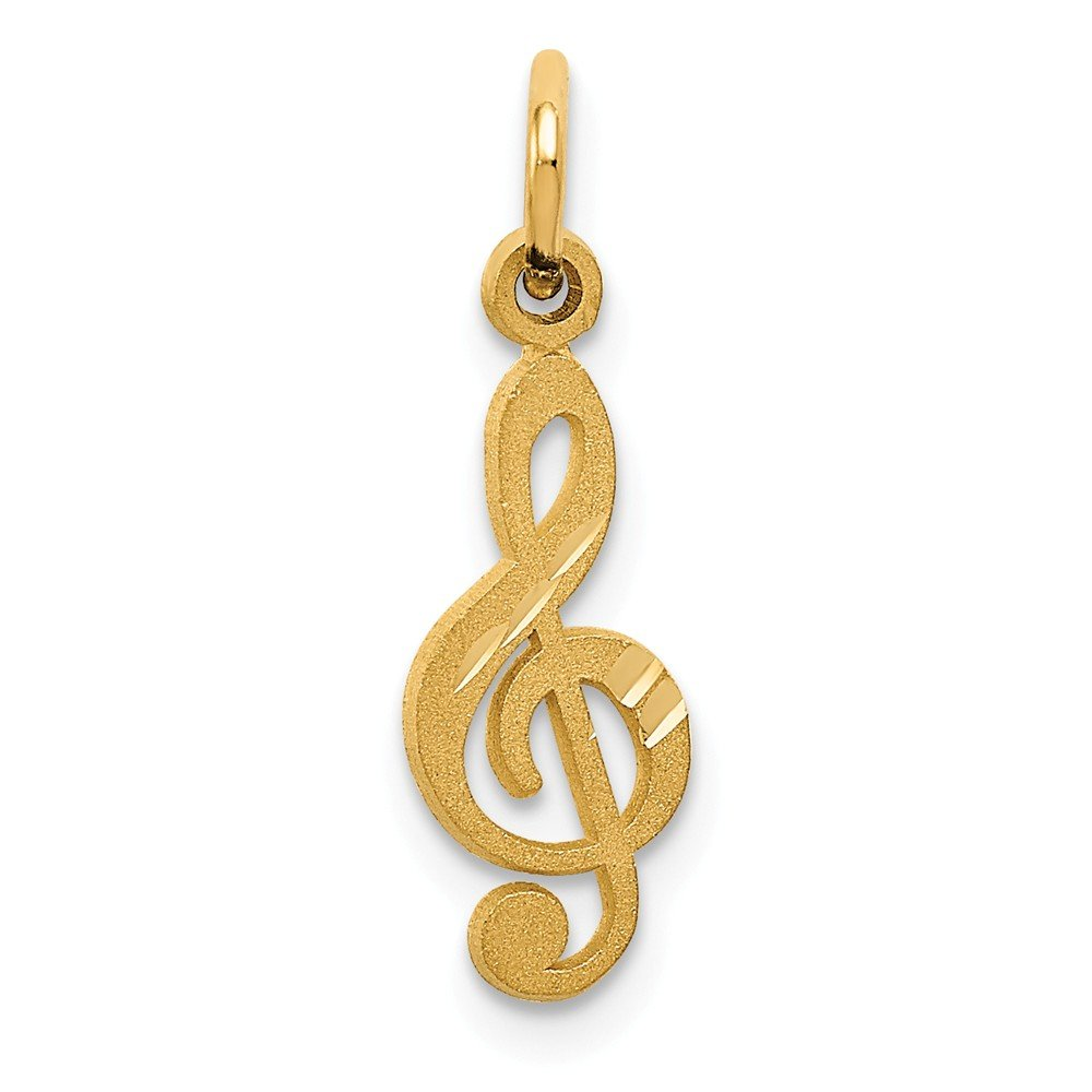 Solid 14k Yellow Gold Treble Clef Pendant Charm 6mm x 20mm