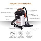 Wet Dry Vacuum, Tacklife 5 Gallon, 5.5 Peak HP, 1000W Stainless Steel Wet/Dry Vac, Over 320 Square Feet Clean Range, 4-Layer Filtration System, Dry、Wet、Blow Three Functions for Cleaning Needs-PVC02A