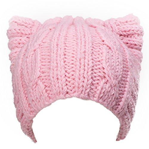 Lawliet Cute Meow Kitty Woman Wool Handmade Knit Cap Beanie Hat A004