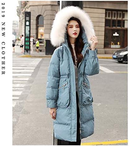 WX-ICZY Mode pour Dames Manteau Veste en Duvet, légère mi-Longs d'hiver en Vrac Grand Manteau de col de Fourrure,Bleu,M