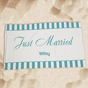 Personalized Wedding Get Away 30 X 56 Beach Towel Microfiber Polyester Terry Fabric