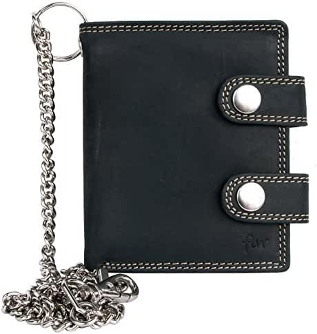Men's Dark Grey Biker's Pocket Sized Genuine Leather Wallet with a Chain to Hang
