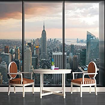 New York City Skyline Window View Wallpaper Mural Part 39