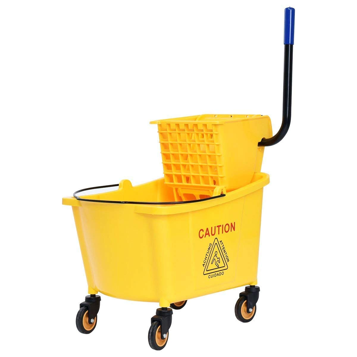 Goplus Commercial Mop Bucket Side Press Wringer Cleaning Caddy with 31 Quart Larger Capacity, Yellow