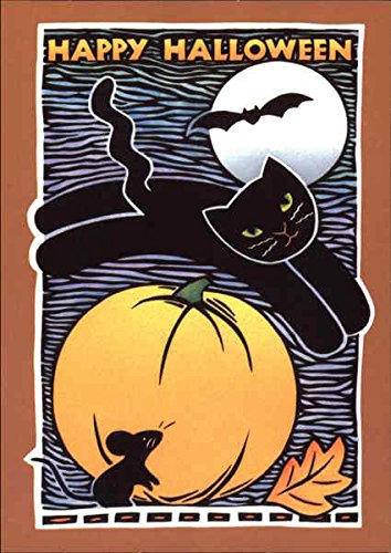 Happy Halloween - Black Cat and Pumpkin Original Vintage Postcard ()