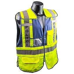 Full Source PSV-POLICE ANSI 207 Public Police Safety Vest - Lime & Navy - M/L