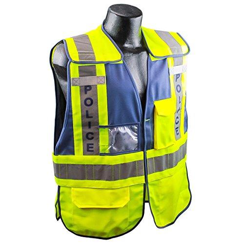 Full Source PSV-Police ANSI 207 Public Police Safety Vest - Lime & Navy - XL/2XL